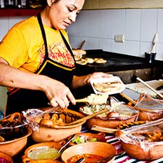 Cancun street food at Parque Las Palapas: tacos, churros, marquesitas, tres leches, and flan.