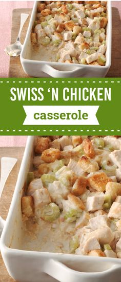 Swiss 'N Chicken Casserole – Looking for a dinnertime recipe that's creamy, cheesy, and covered in crispy croutons? You're in luck! You've come to the right place with this classic comfort food dish.