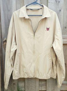 Polo Ralph Lauren Men's Full Zip Windbreaker Golf Jacket Khaki Un Lined Sz XL #PoloRalphLauren #BasicJacket