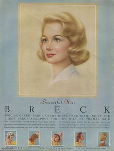 Instant access to historical digital collections. Vintage Makeup, Vintage Beauty, Vintage Advertisements, Vintage Ads, Breck Shampoo, Fly Away Hair, Body Adornment, Commercial Art, Hair Raising