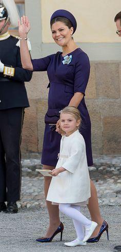 Crown Princess Victoria of Sweden and Princess Estelle of Sweden are seen at Drottningholm Palace for the Christening of Prince Nicolas of Sweden on October 11, 2015 in Stockholm, Sweden.