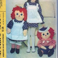 """Raggedy Ann and Andy 36"""" Dolls (Ann's Apron Fits A Child Sz 2 to 6) - CUT McCall's 4268  #sharpharmade"""