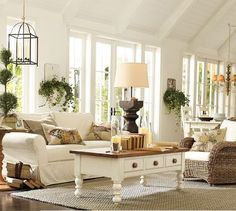 Living room from Pottery Barn -- slipcovers and pillows -- such a nice clean look ~~`