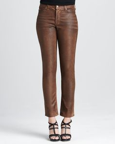Love these leather-coated jeans from NYDJ