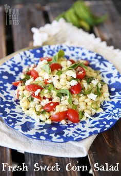 Fresh Sweet Corn Salad on Our Best Bites.  One of my most FAVORITE meals this summer.  Perfect with some grilled chicken or fish, and so light and healthy!