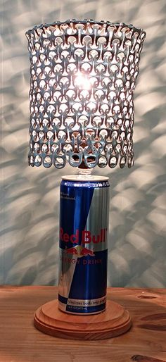 Red Bull Energy Can Lamp with Pull Tab Lamp Shade by LicenseToCraft, $43.00