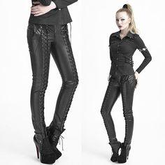 PUNK RAVE Gothic Schnürhose Art Leather Pants Punk pants Leather Pants GOTHIC | eBay