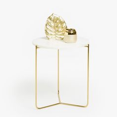 Image 1 of the product GOLDEN SIDE TABLE WITH MARBLE TOP