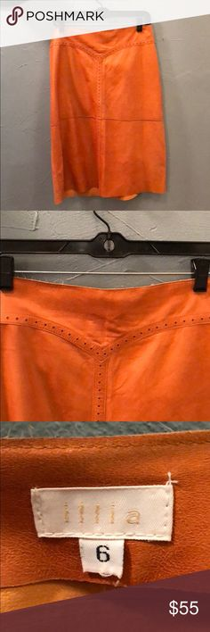 illia Midi Length Orange/Camel Leather Skirt Size 6  Genuine Leather Frayed at top of hem Smoke and Pet Free Home ​All Sales Final illia Skirts Midi