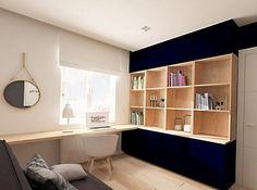 peinture murale blanche et meuble de rangemen bois et bleu foncé