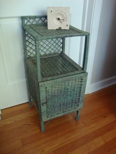 vintage painted green wicker cabinet with so by LathandPlaster, $85.00