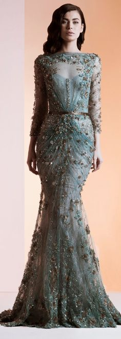 Ziad Nakad Haute Couture S/S 2014. Lovely hint of a bodice through the sheer top fabric.