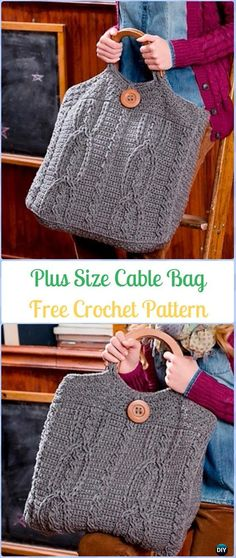 Crochet Plus Size Cable Bag Free Pattern - Crochet Handbag Free Patterns Instructions
