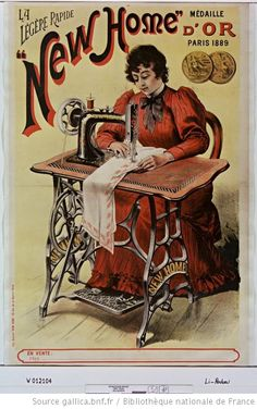 Old sewing things | affiche publicitaire machine à coudre new home 1889