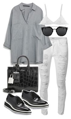 """Untitled #19736"" by florencia95 ❤ liked on Polyvore featuring Hudson, Yves Saint Laurent and Prada"