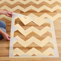 Chevron Stenciled Floor - Lowe's Creative Ideas with Royal Design Studio Stencils. DIY, remodel, home decor, design