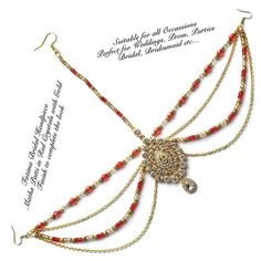 Red and Gold hair jewelry  Bollywood Headpiece  Bridal Head