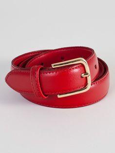 Unisex Basic Leather Belt (Bright Red/Gold) - Americanapparel.net