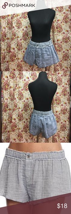 "Free People shorts Free People New Moon Lounge Shorts.  Double layered gauze.  Raw edging.  Covered elastic waist.  Four button fly.  Intentional stringy frayed edges and worn look.  Measurements:  (not stretched) 30"" length 9"".  Never worn.  Excellent condition. Free People Shorts"