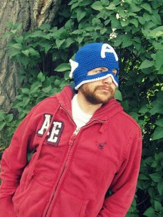 CROCHET PATTERN Captain America Mask TeenAdult by TheCrazyCuteShop