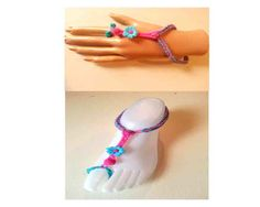 Barefoot Sandals with matching bracelet or ring/wrist bracelet (you choose colors) ***NEW CHARMS