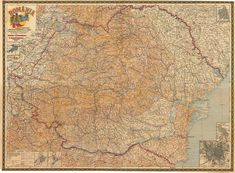 """""""Map of Greater Romania, with the new borders admitted by the Congress in Paris and the Romanian names of all localities,"""" created by General C. Teodorescu and PhD Professor Vasile Meruțiu, Bucharest, 1919 Historical Maps, Bucharest, Professor, Vintage World Maps, Paris, Create, Geography, Simple Lines"""