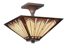 Tiffany-Style-Stained-Glass-2-Light-Semi-Flush-Ceiling-Light
