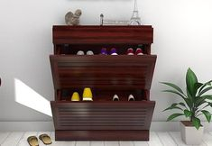 Modish Catlin Shoe Rack in Mahogany Finish.Durable, wooden shoe rack online available at best and most affordable prices. Get this shoe rack online in Wooden Street, Wooden, Shelves, Stuff To Buy, Wooden Shoe Cabinet, Home Decor, Shoe Storage, Wooden Shoe Racks, Rack