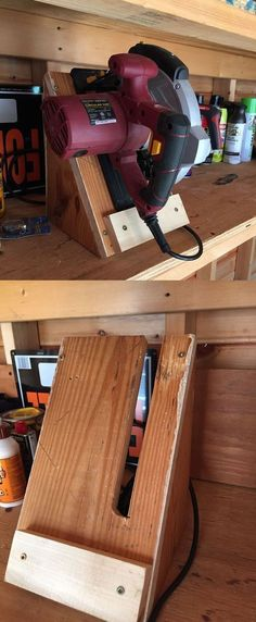 Circular saw storage caddy. Very easy DIY project and works great in a shed or garage. Circular saw storage caddy. Very easy DIY project and works great in a shed or garage. Diy Garage Storage, Shed Storage, Garage Organization, Tool Storage, Storage Caddy, Storage Ideas, Organization Ideas, Workshop Organization, Organized Garage