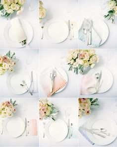 DIY: Ombre Wedding Napkins  You can totally do this! We just found stacks of simple white linen napkins and dipped them in little bowls of fabric dye to give them a watercolor effect.