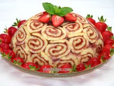 Summer strawberry roll cake