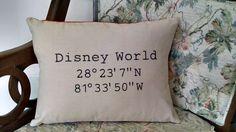 Latitude Longitude Disney World Pillow by OurSewGoodLife on Etsy