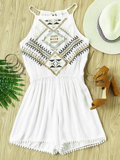 Shop Aztec Embroidered Lace Hem Tie Back Pleated Romper online. SheIn offers Aztec Embroidered Lace Hem Tie Back Pleated Romper & more to fit your fashionable needs.