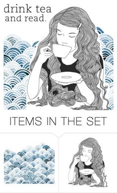 """""""~Drink tea and read~"""" by bubblegum59 ❤ liked on Polyvore featuring art"""