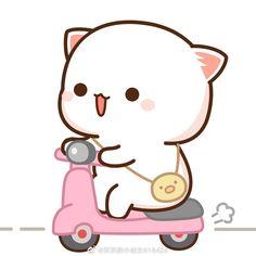 Cute Bunny Cartoon, Cute Cartoon Images, Cute Kawaii Animals, Cute Love Cartoons, Cute Cartoon Wallpapers, Chibi Cat, Kawaii Chibi, Cute Chibi, Anime Chibi