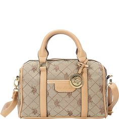 U.S. Polo ASSN. Designer Handbags Women's Logo Jacquard Mini Satchel Bag - Beige (More Colors Available). WEAR IT YOUR WAY: With dual top handles you can slip over your arm, or use the detachable, adjustable strap to sling across your body. MEDALLION ACCENT: A luxurious gold tone medallion glints along the front. ENDURING STYLE: Quality synthetic fiber construction means long-lasting enjoyment. FASHIONABLE ORGANIZATION: The fully lined interior compartment features two wall slip pockets…