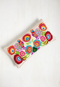 And the Roost Was History Pillow by Karma Living - Cotton, Multi, Floral, Embroidery, Colorsplash, Wedding, Daytime Party