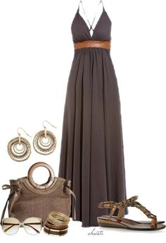 taupe maxi dress DYT type 2 pair with more delicate type 2 acessories Good for an apple shape.