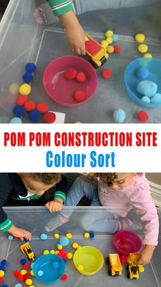 Pom pom colour construction site is a fun and easy way to practice color sorting with pom poms. So grab your dump trucks, diggers and bulldozers and create this fun color sorting activity for toddlers and preschoolers. Color Activities For Toddlers, Childcare Activities, Preschool Colors, Teaching Colors, Toddler Learning Activities, Infant Activities, Sorting Activities, Sensory Activities Preschool, Color Sorting For Toddlers