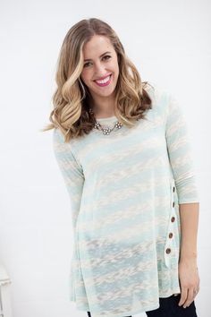 My Sisters Closet - Asymmetrical Side Button Knit Top, $24.00 (http://www.mysisterscloset-boutique.com/asymmetrical-side-button-knit-top/)