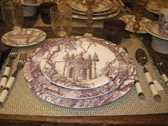 image from  habituallychic.blogspot.com  My splurge dessert plates, perfect for autumn or woodland Christmas. Hermes Les maisons enchantees