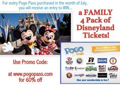 Buy a Pogo Pass in the month of July and be automatically entered to win a 4 pack of single day Disneyland tickets! Use code: GOPLAY at www.pogopass.com to get each pass for only $39.98 each. One entry per pass!