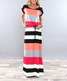 Another great find on #zulily! Coral Color Block Tie-Waist Maxi Dress #zulilyfinds