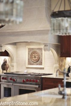 Back splash focal points   Kitchen Backsplash with a Medallion as the Focal Point traditional ...
