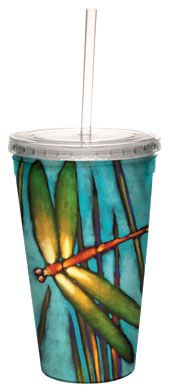 Beautiful Dragonfly Cool Cup - $14.99 - Drink a refreshing beverage in style with this fantastic tumbler! The peaceful dragonfly design brings to mind the gentle sound of chirping insects and wind rustling in the leaves of the trees on a sunny day.
