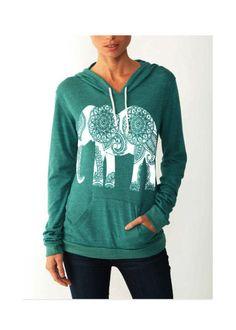 Womens Paisley ELEPHANT Hoodie  Tshirt Lightweight  Sweatshirt Hooded  Alternative Apparel Gray, Blue, Pink, Black 7b2f9338453