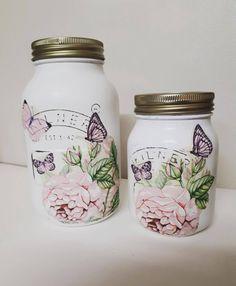69 Ideas For Flowers Vintage Decoupage Shabby Chic Mason Jar Projects, Mason Jar Crafts, Mason Jar Diy, Bottle Crafts, Prayer Jar, Decoupage Jars, Jar Design, Design Ideas, Kilner Jars