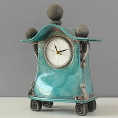 quirky ceramic mantel clock - medium - turquoise by ian roberts MBT