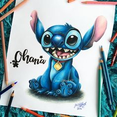 Drawing of Stitch from Disney's Lilo and Stitch by Jess Elford. Drawn with prismacolor pencils.