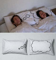 This would be a cute wedding present...Thought bubble couple pillowcases